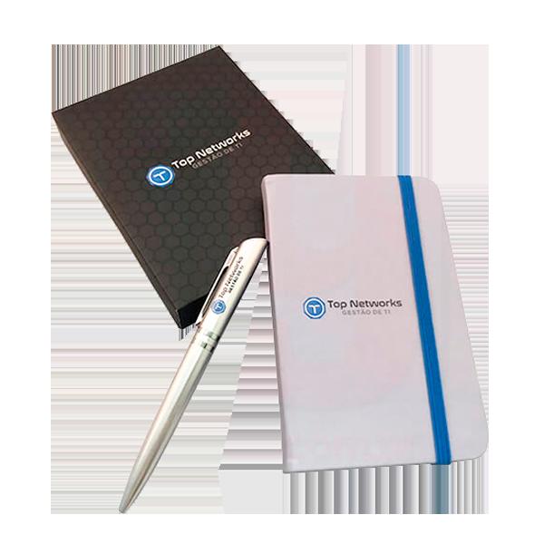 Kit caderneta com caixa e caneta