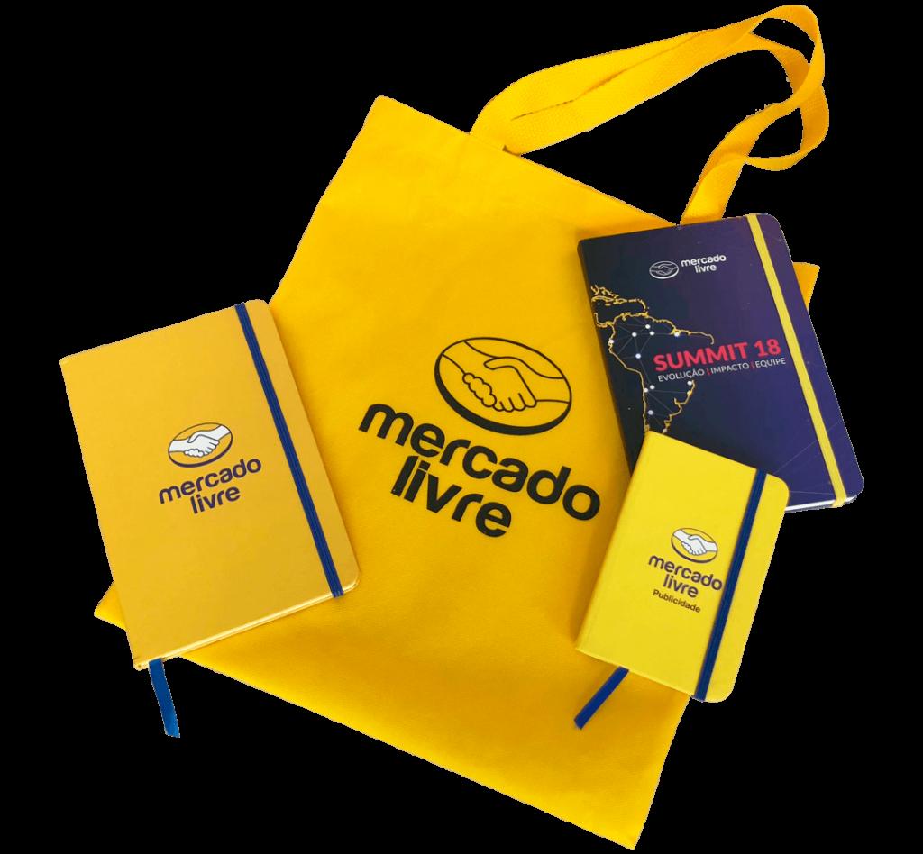 Kit cadernetas personalizadas com ecobag